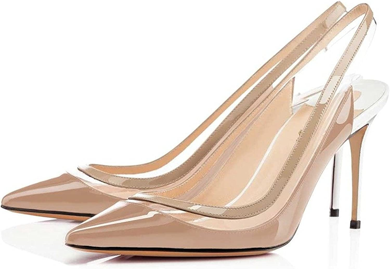 Nancy Jayjii Pointed Toe Women Pumps Transparent Sling Back Sandals Genuine Leather shoes Nude Size 13 US