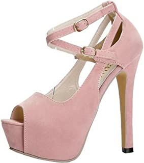 765d54e58a2 Gaorui Women Girl Peep Toe Ankle Strap Stiletto Shoes High Heel Platform  Buckle Sandals