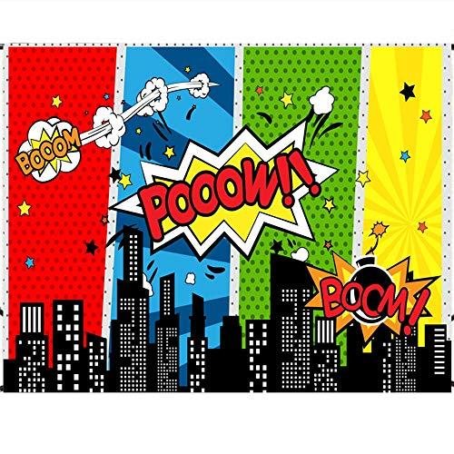 Longsing Fondos de Superheroes Superhéroes Fondos Fotográficos Decoraciones para Fiestas y Eventos de Cumpleaños Studio Props 150 * 200CM