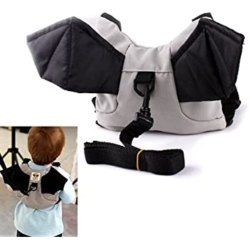 Hommy迷子紐付き ベビーリュックサック 子供 赤ちゃん おでかけ お散歩 迷子防止 ハーネス リード付き コウモリ型 灰色グレー (黒)