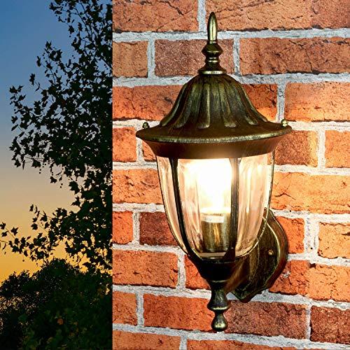 *Gold Antike Gartenbeleuchtung MILANO Aluminium E27 IP44 Tür Haus Wand Lampe Außen Balkon Terrasse*