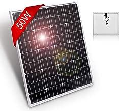 DOKIO 50 Watts 12 Volts Monocrystalline Solar Panel Portable,for 12 Volts Battery Charging, Boat, Caravans, RV,Camping