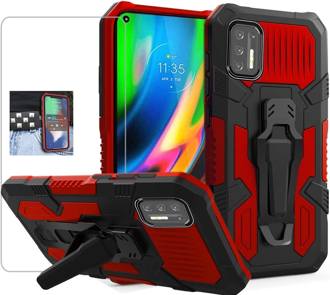 funda resistente + vidrio templado Motorola G9 Plus rojo
