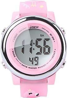 ibasenice Relógio de LED 3D luminoso para meninas, relógio digital rosa, esportivo, impermeável, relógio de pulso de Natal...