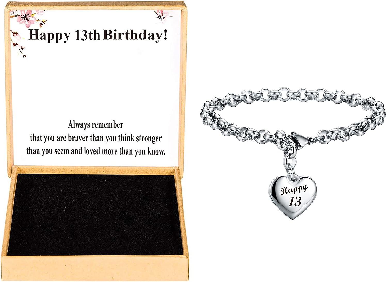 KGBNCIE Happy Birthday Gifts Bracelet Heart Charm Alphabet Bracelet Gift for Women Girls 11st 12th 13th 14th 15th 16th 17th 18th 19th 20th 21th 25th 30th