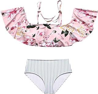 a71274737eb9 FRAUIT Completo Bikini per Mamma e Figlia Costumi da Bagno Bambina Due  Pezzi Fiori Costumi da