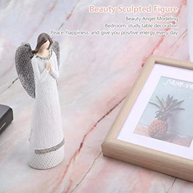 Agatige 7.9in Angels Figurines, White Resin Collectible Angel Statue Desktop Ornaments for Home Office Shop Store(Anjali)