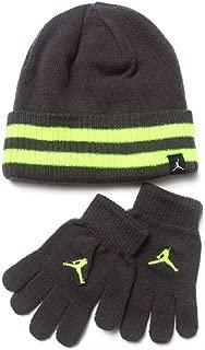 Nike Jordan Boys Winter Cuffed Beanie & Gloves Set Size : Youth 8/20