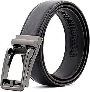 Filgate Men's Genuine Leather Ratchet Dress Belt with Automatic Click Buckle