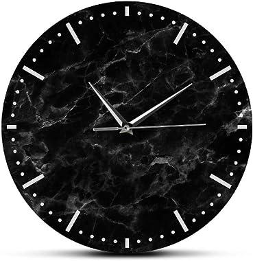mazhant Horloge Murale en marbre Noir Minimaliste Impression de marbre Noir Horloge Murale silencieuse pour décor de Salon Mo