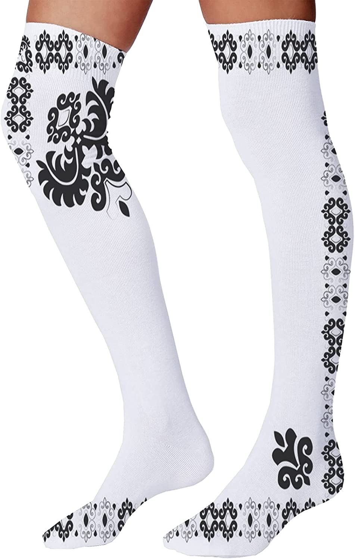 Men's and Women's Fun Socks,Oriental Eastern Pattern of Waves and Spirals in Random Order
