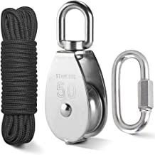 TooTaci Crane Pulley Block M50 Lifting Crane Swivel Hook single Pulley Block Hanging Wire Towing Wheel 304 Stainless Steel - 10 meter High Strength Nylon Pulley rope & Carabiner Snap Hook Clips - Load