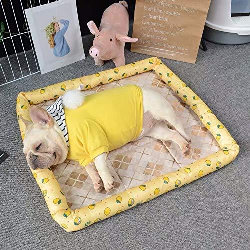 LCSD Cama de perro de verano Mat almohadilla de hielo almohadilla para dormir gato almohadilla de enfriamiento resistente mordedura hielo seda Oxford Pet Nest amarillo limón 56 x 47 cm