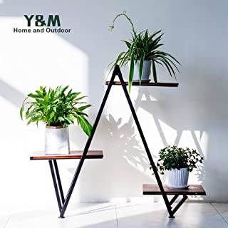 Y&M 3-Tier Metal Plant Stand Flower Pots Stander Display Pots Holder for Indoor Outdoor Use, Black