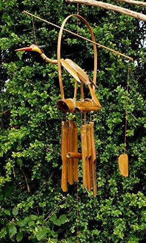 Sunlover Windspiel Vogel Bambus Kokosnuss Wackelkopf Hängendes Windspiel Mobile Garten Deko Fair Trade Handgeschnitzt 60 cm BCW39-BNT