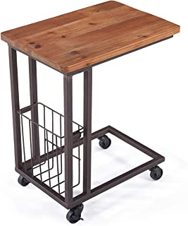 Care Royal Vintage Mobile Snack End Side C Table with Storage Basket for Coffee Laptop Tablet, Slide under Sofa Couch Bed, Rolling Casters with Brakes, Natural Solid Reclaimed Wood, Rustic Brown Metal