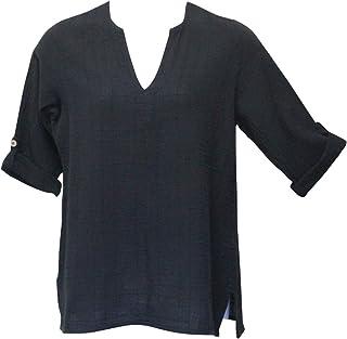 Ezze Wear Women`s Black Dotty Gauze Cotton Teah Tunic Top