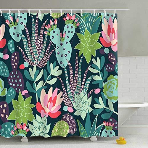 Litthing Duschvorhang 180x180 Anti-Schimmel und Wasserabweisend Shower Curtain mit 12 Duschvorhangringen 3D Digitaldruck Grüne Pflanze mit lebendigen Farben (9)