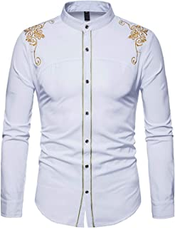 Shirt New Youth Men's Fashion Court Embroidery Long-Sleeved Slim Shirt Size S-2XL TLH32