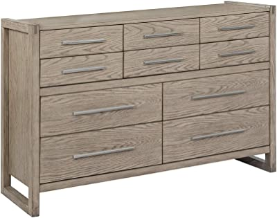 Benjara 10 Drawer Dresser with Grain Details and Sled Base, Brown