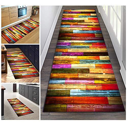 Filjr Teppich Läufer Flur Bunt rutschfest Lang 60x150cm Vintage for Küche Schlafzimmer Wohnzimmer, TQDTX Polyester Verblassen Nicht Anpassbar (Color : Color#1)
