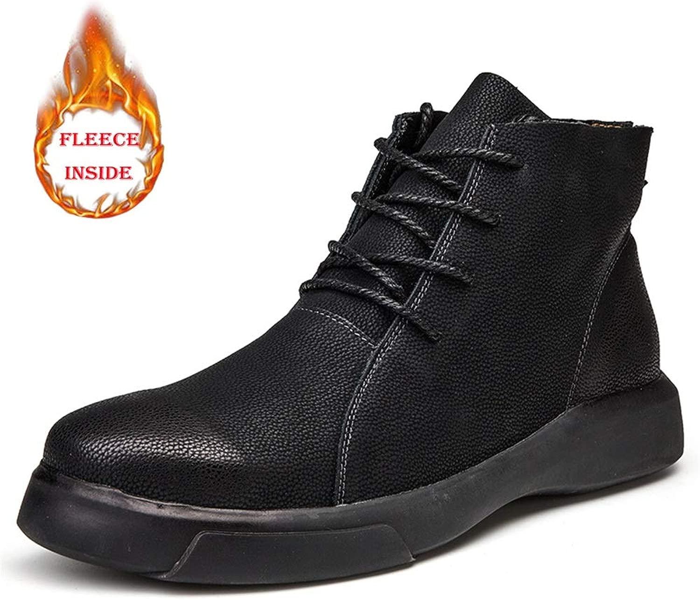 EGS-schuhe Herrenstiefeletten Casual Stilvolle und Bequeme runde Zehe Faux Fleece-Innensohle Freizeitschuhe (konventionell optional),Grille Schuhe (Farbe   Warm schwarz, Größe   39 EU)