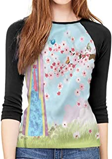 Music Sleeve Basic Tunics Tee Oriental Girl Cherry Blossom Casual Polyster O Neck Sport T Shirt,