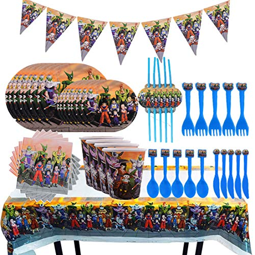 REYOK Partygeschirr Kindergeburtstag Set, 92Pcs Dragon Ball Kindergeburtstag Deko Kit Party Teller Tassen Servietten Tischdecke Papier Banner für Motto-Party Tischdeko Partygeschirr -Serve 10 Gäste