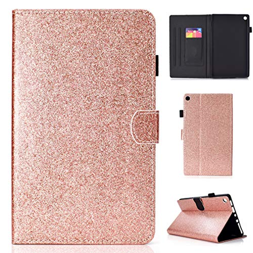 LMFULM Case for Amazon Kindle Fire HD8 2016/2017 (8,0 Inch) PU Magnetic Cover Shining Case Sleep/Wake Function Stent Function Holster Leather Case Flip Cover for Amazon Kindle Fire HD8 Rose Gold