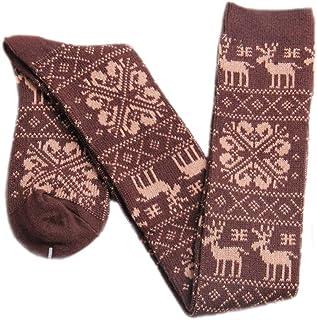 Mujeres Hombres Chica Navidad Deer Knit Snow Calcetines Hasta La Estilo Simple Rodilla Invierno Muslo Alto Moda Joven Fiesta