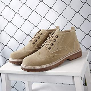 2019 New Imitation Cowhide High-top Shoes Retro Brock Plus Velvet Martin Boots Men's Foreign Trade Large Size (Color : Khaki, Size : 45)