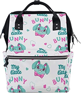 Backpack for Men Women, Bunny Faces Heart Slogans Casual Water-Resistant College School Backpack