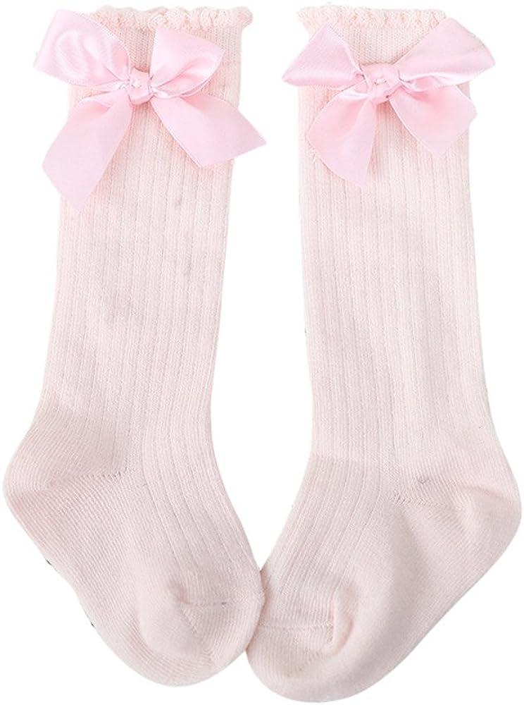 New Baby Socks,WM /& MW Bow Soft Cotton High Over Knee Socks Long Socks for Toddlers Girls Kids