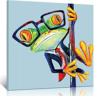 TONZOM Abstract Happy Cute Frog with Glasses Printed on Canvas Stretched Framed Ready to Hang Decoration For Modern Home(12x12inch)