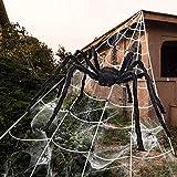 iZoeL Halloween Deko 700cm Riesige Spinnennetz + 200cm Spinne + Spinnweben + 30 Mini Spinne, Halloween Garten Deko Außendekoration Riesenspinne (Spinnennetz + Spinne + 40g Weben)