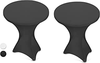 Black Spandex Cocktail Table Cover - Fitted High Top Round Table Cloth, Round Tablecloth Covers for Pub Table, Round Kitchen Table, High Top Table, Bistro Table, other Tables and Cocktails (2 Pack)