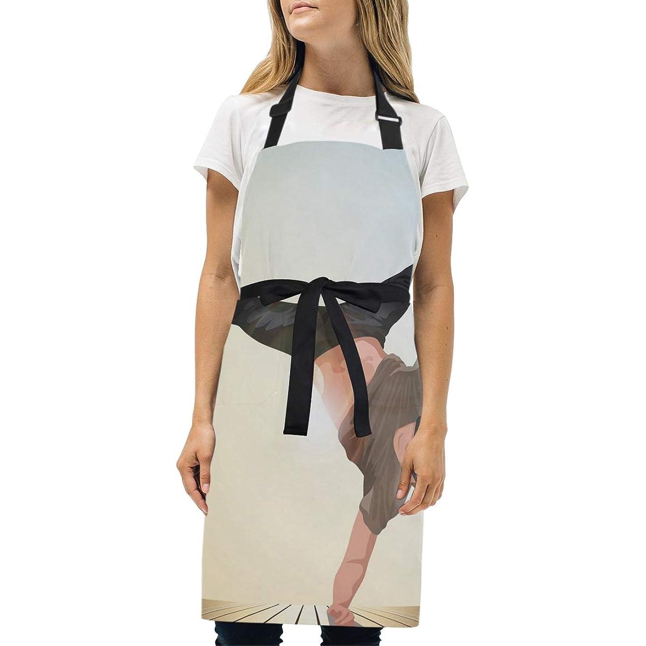 Womens Aprons Hip Hop Dancer Kitchen Bib Aprons with Pockets Adjustable Buckle on Neck