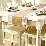 SOEKAVIA Runner da Tavolo Tela di Juta con Pizzo Decorazioni casa Table Runner (275 * 30cm,White,1pcs)