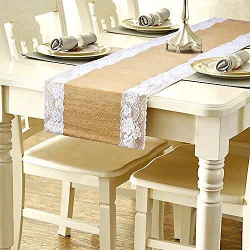 camino de mesa de encaje tela de yute de arpillera de yute natural rústico boda decoración para tapicería de arpillera yute al aire libre fiesta decoración de Navidad 275 * 30 cm, Blanco, 1 pieza