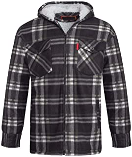 Shelikes Unisex Mens Fleece Sherpa Fur Lined Lumberjack Quilted Hood Check Thermal Shirt