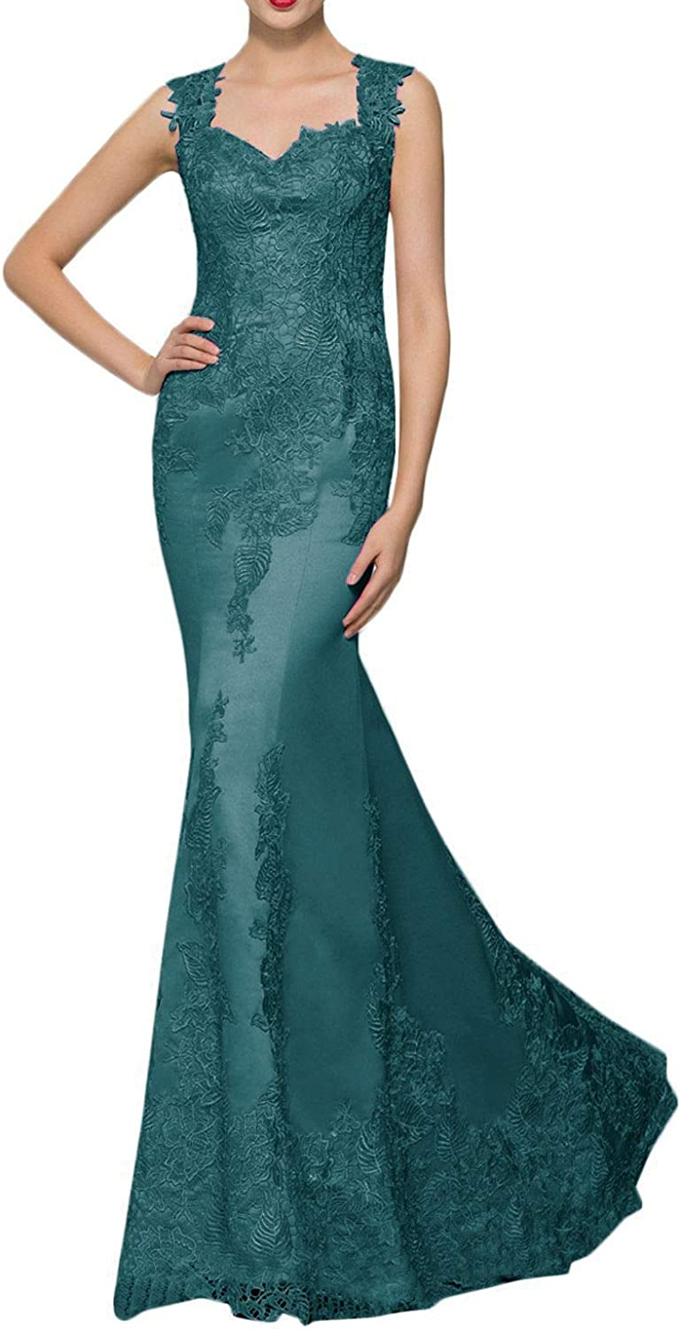 DINGZAN Satin Lace Mermaid Evening Mother of The Bride Dresses Long