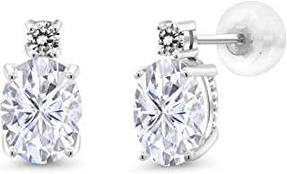 14K White Gold Stud Earrings Forever One (GHI) Oval 3.00ct (DEW) Created Moissanite by Charles & Colvard and Diamond