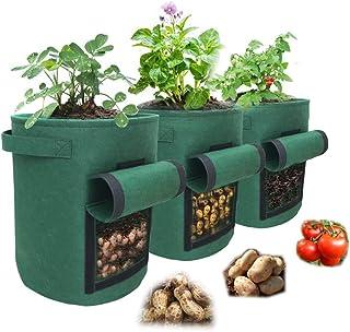 Potato Grow Bags Set of 3 – 10 Gallon Grow Bags – Premium Felt Planting Bags for Vegetables – 400GSM Density for Ultra-Str...