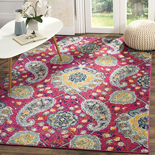 "Safavieh Madison Collection MAD600A Fuchsia and Gold Bohemian Chic Paisley Area Rug (5'1"" x 7'6"")"