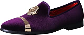 ELANROMAN Mens Loafers Velvet Dress Shoes with Gold Plate Smoking Slippers Slip on Penny Party Luxury