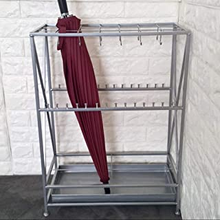 Yxsd Umbrella Stand Hotel Lobby Home Creative Long Handle Wrought Iron Umbrella Stand Storage Rack, High 27.8in (Color : Silver, Size : 10 Hole 28 Hook)