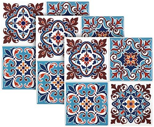 infactory Selbstklebefolie: Selbstklebende 3D-Mandala-Fliesenaufkleber, 25,5 x 25,5 cm, 3er-Set (Klebefliesen Küche)