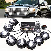 SMALLFATW Hideaway Police Lights Kit 8 HID Bulbs 16 Flashing Mode Memory Recall Function, 16 Feet Power Cord with Controller, Strobe Lights for Vehicles Truck