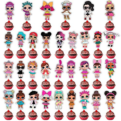 33 Pieces LOL Cake Topper Toppers,Cupcake Decoration for Party Supplies