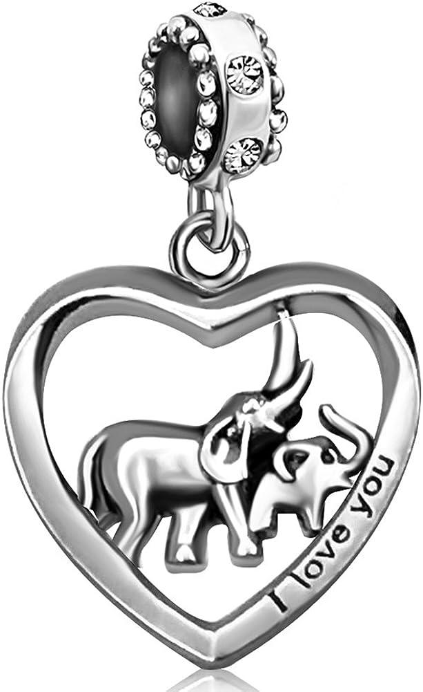 JMQJewelry Elephant Mother Heart Love Baby Child Birthstone Dangle Charms for Bracelets Grandma Mom Dad Wife Husband Gifts Valentine's Christmas Day